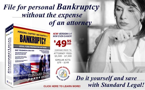 Get the latest do it yourself Bankruptcy software from Standard Legal