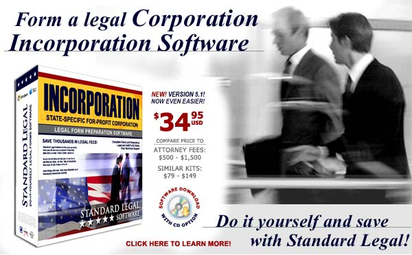do it yourself Incorporation software from Standard Legal