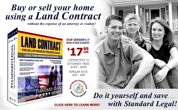 do it yourself Land Contract software from Standard Legal