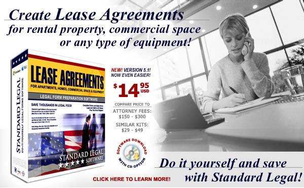 do it yourself Lease Agreements software from Standard Legal