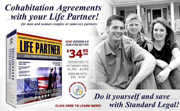 do it yourself Life Partner Cohabitation Agreements software from Standard Legal