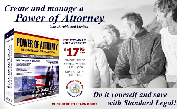 do it yourself Power of Attorney software from Standard Legal