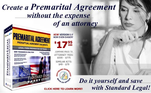 do it yourself Premarital Agreements software from Standard Legal
