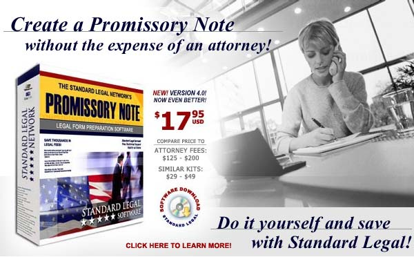 do it yourself Promissory Notes software from Standard Legal