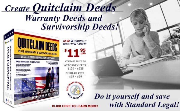 do it yourself Quitclaim Deeds software from Standard Legal