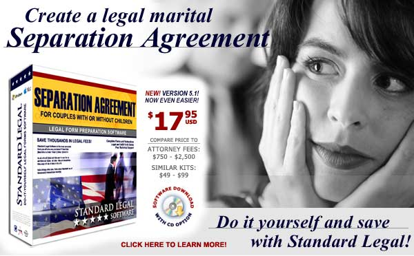 do it yourself Separation Agreement software from Standard Legal