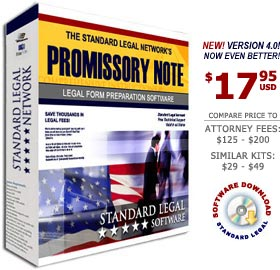 Click her for Promissory Note Legal Forms Do It Yourself Software from Standard Legal