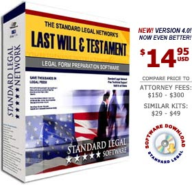 Last Will and Testament Legal Forms Software from Standard Legal