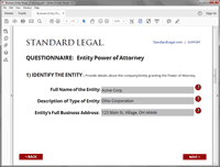 Business Entity Power of Attorney software question 1