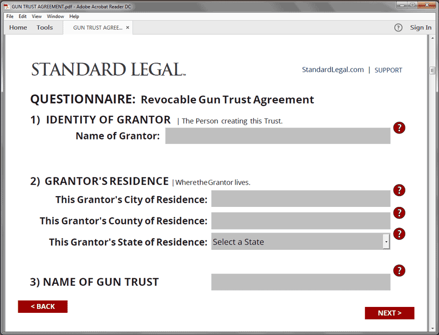 Gun Trust Legal Forms Software :