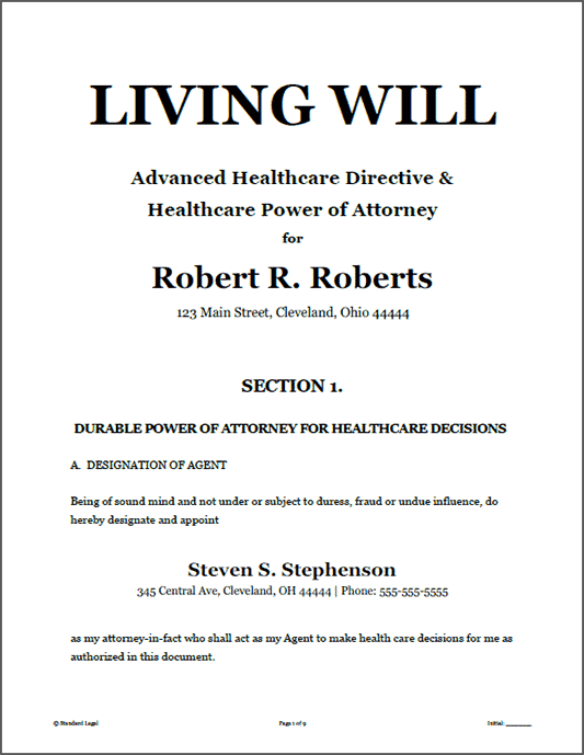 Living will healthcare legal forms software standard legal for Ohio living will template