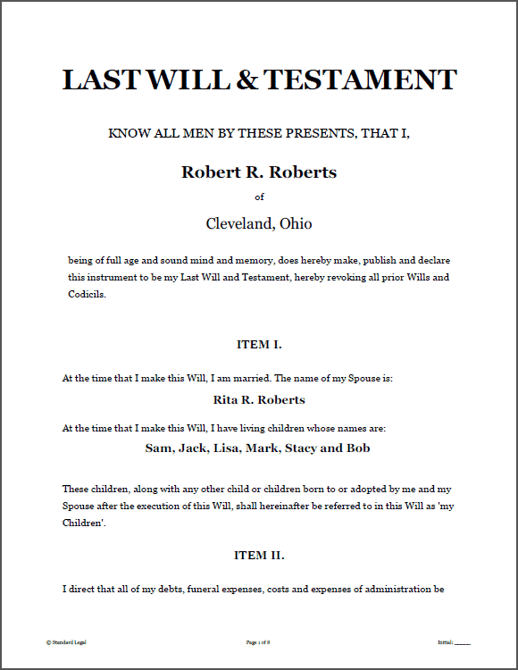 Last will testament legal forms software standard legal for Sample of living will template